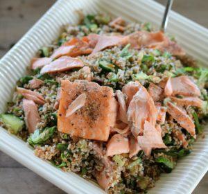 Lemon Dill Bulgur Salad with Salmon
